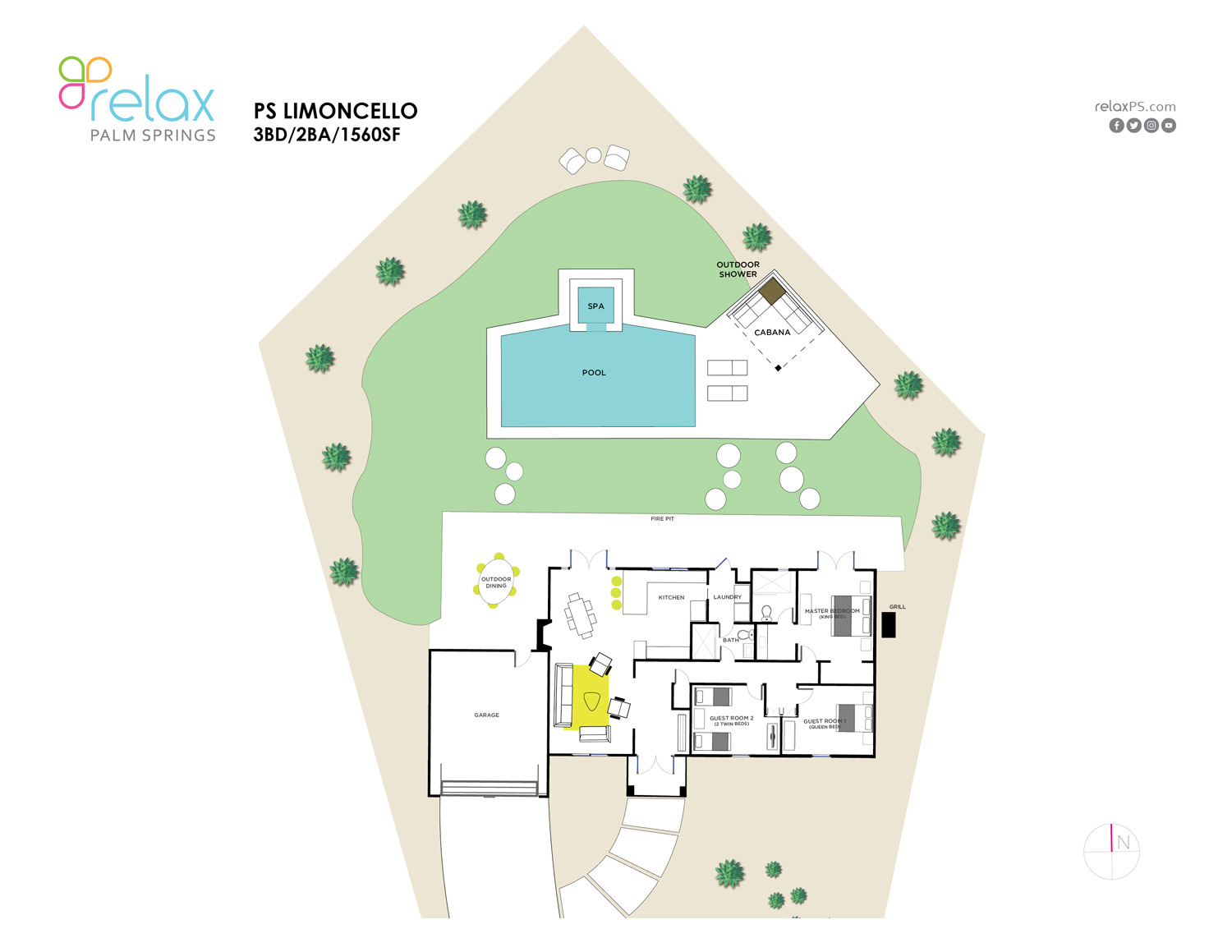 Floor Plan for Sparkling Mini-Resort Offers Lush Gardens and Mid-Century Style