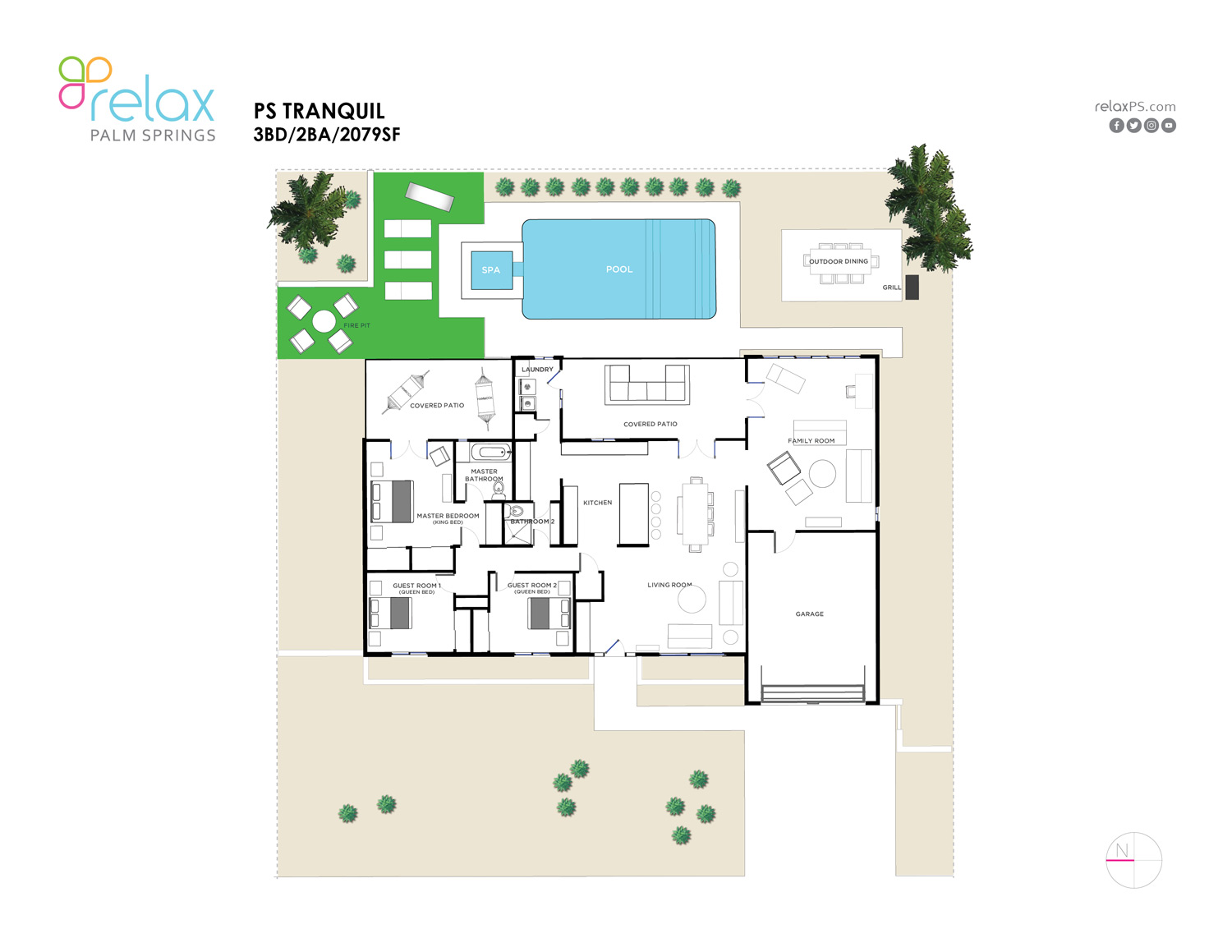 Floor Plan for Desirable South-End (Less Wind) 3BD/2BA Home With Great Amenities