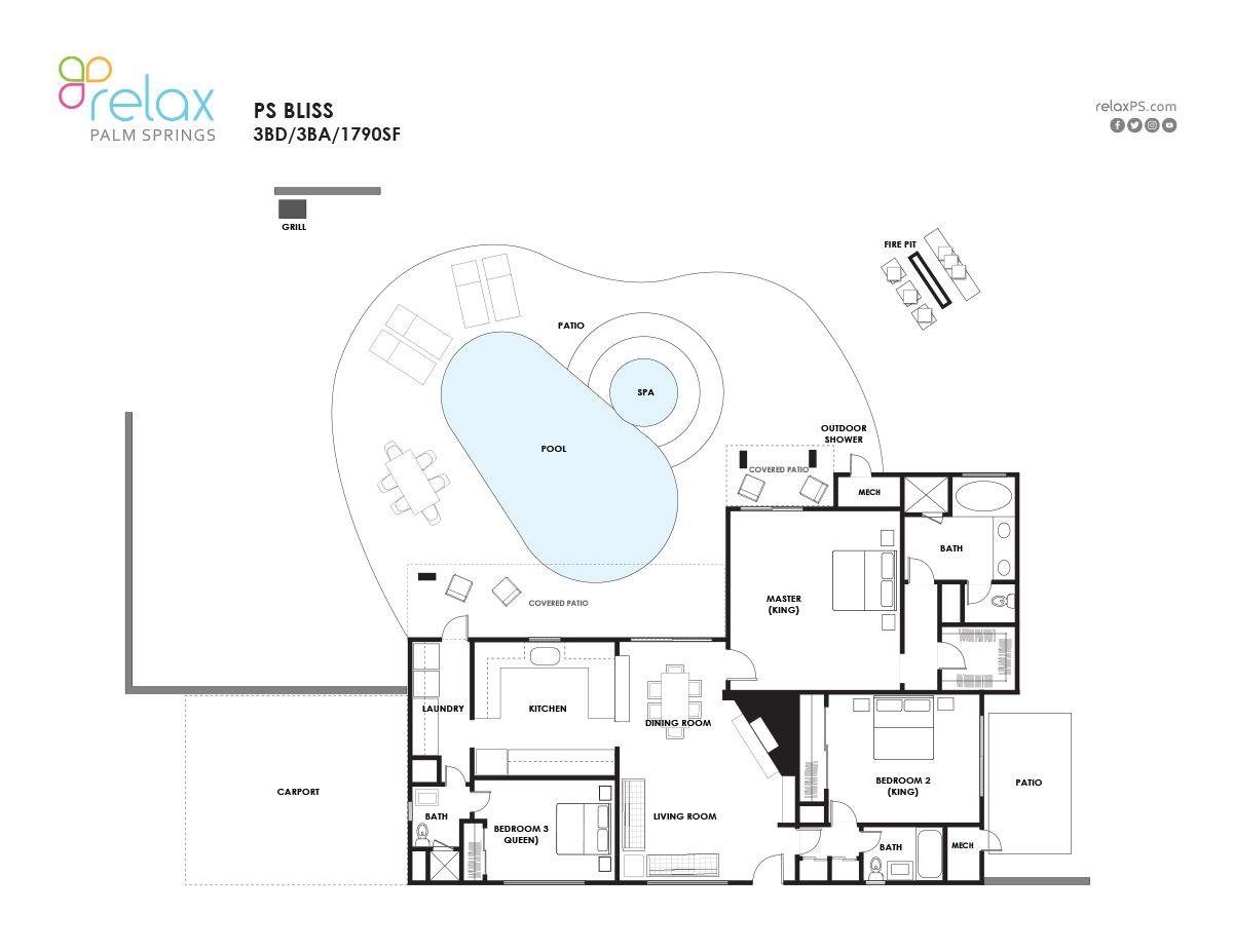 Floor Plan for Relax and revel... You have found your Bliss!