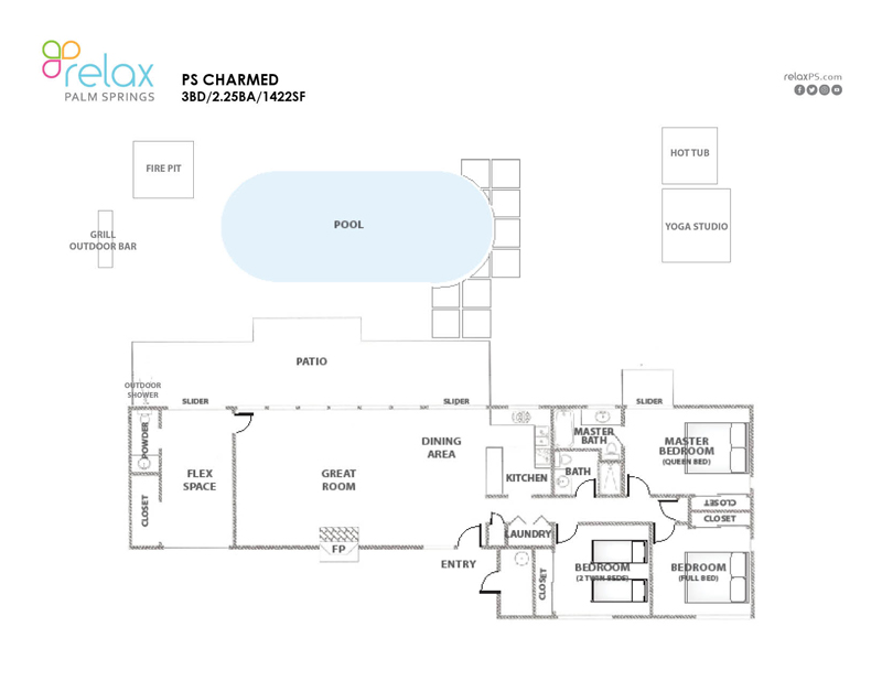 Floor Plan for Charmed Mid-Century Home Bringing THE Palm Springs Life!
