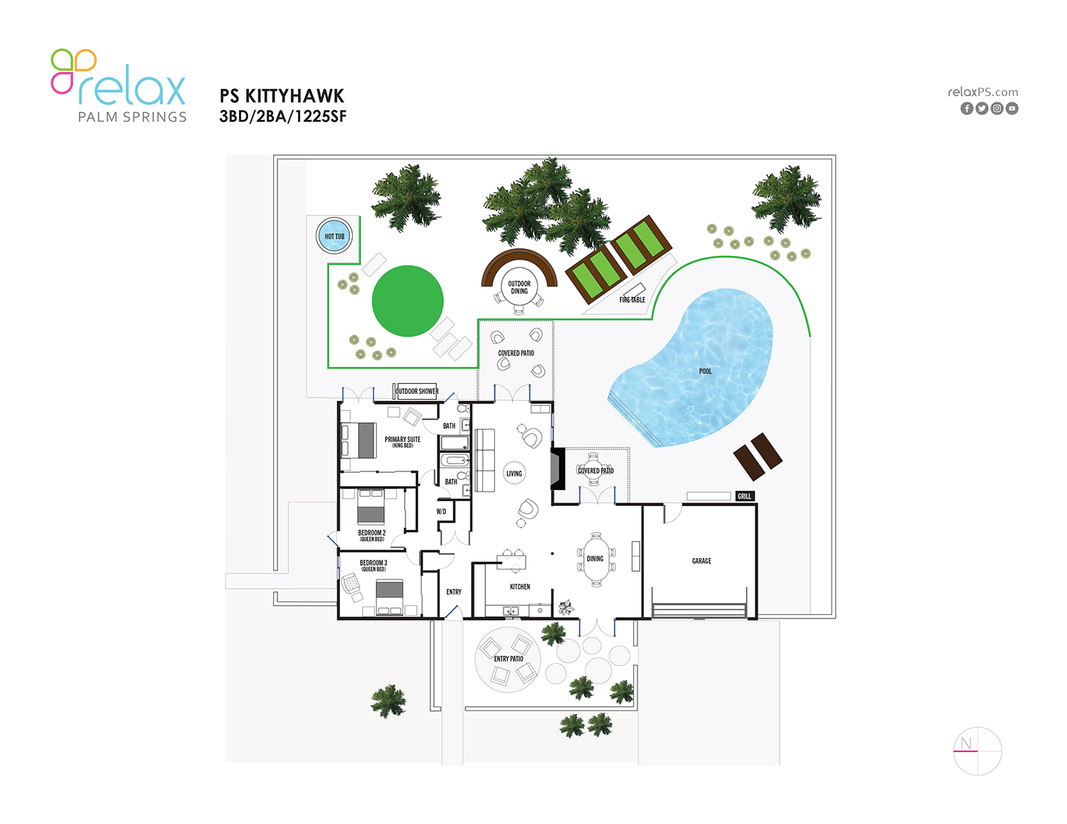 Floor Plan for Ideal Mid-Century Style and the Palm Springs Outdoor Life