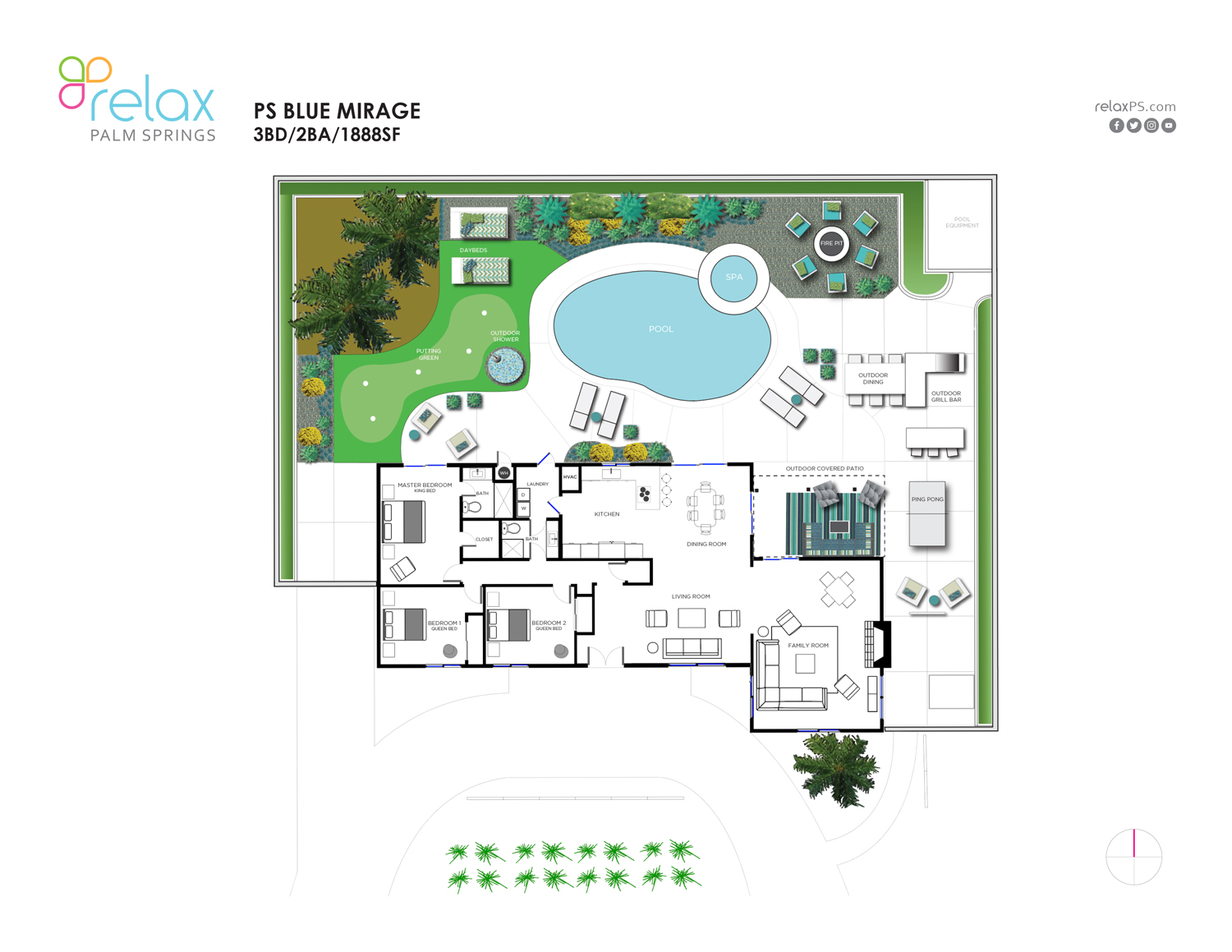 Floor Plan for Well Equipped Modern Oasis With Activities Galore!