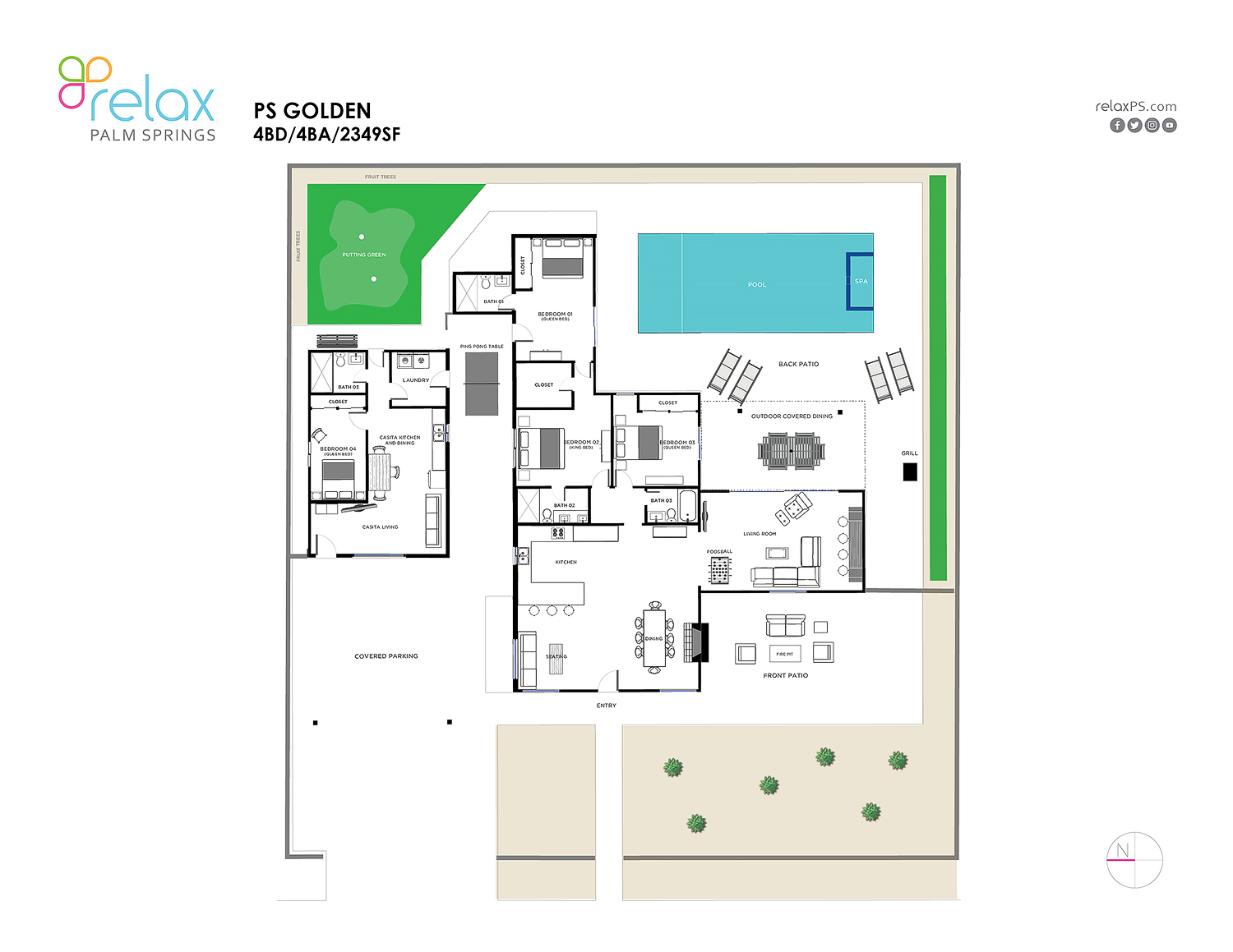 Floor Plan for CASUAL ELEGANCE POPS IN THIS WELL-SUITED 4BD/4BA WITH CASITA