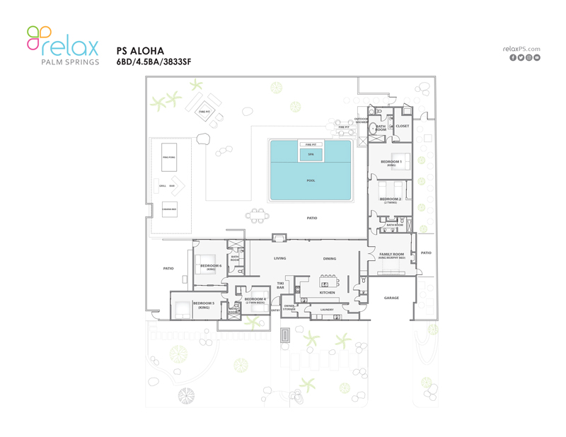 Floor Plan for Aloha Welcomes with Stunning Style, Views, Pool, Spa and Pet Friendly