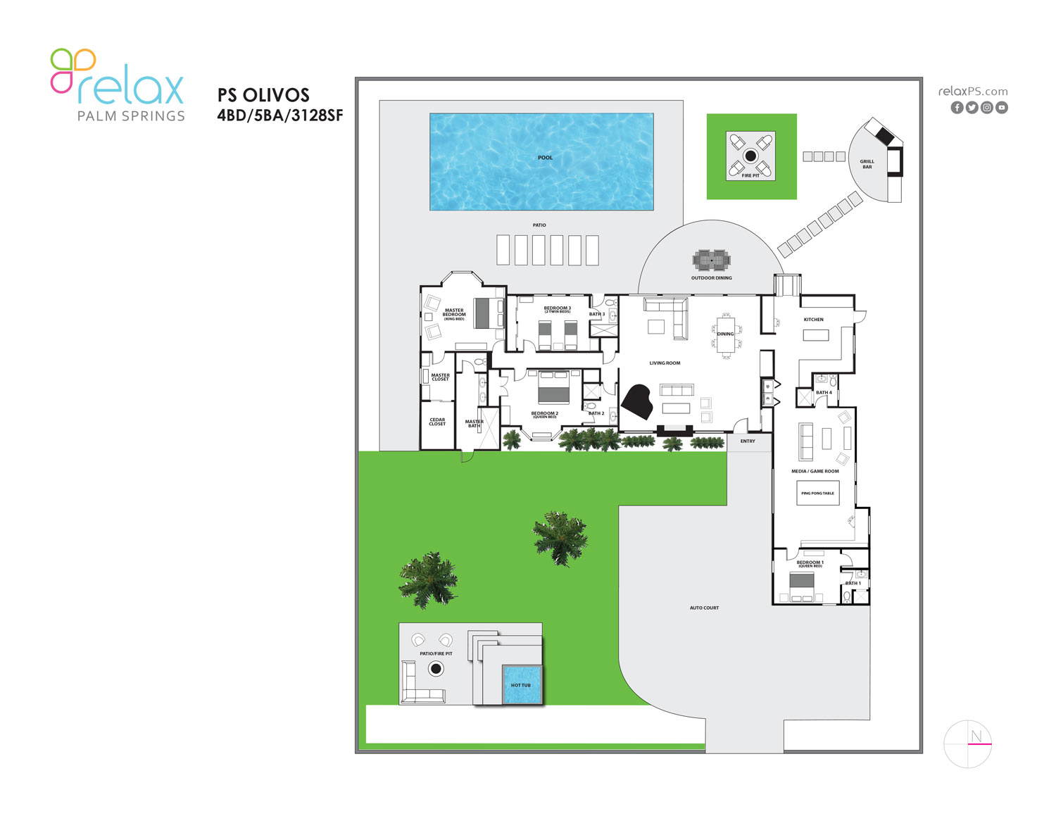 Floor Plan for Mini-Estate in Famed Movie Colony: Spacious 4BD - all en-suites!